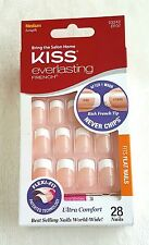 Kiss Everlasting French Tip Medium Length 28 Nails Fits Flat Nails # 53242