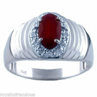 Mens Oval Red Ruby & Diamond Ring 14K White Gold