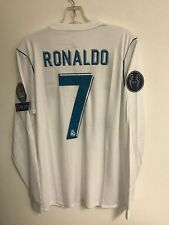 17/18 RONALDO REAL MADRID LONG SLEEVE CHAMPIONS LEAGUE WHITE HOME JERSEY MEDIUM