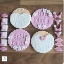 HEN DO NIGHT Edible Sugar Cake Cupcake Toppers Pink & White Bride To Be Party