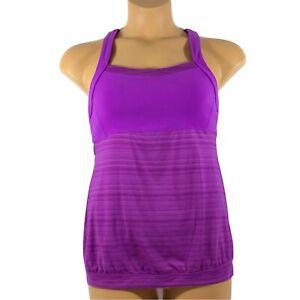 Athleta Crunch Punch Tank Top Crisscross Back Shelf Bra Purple Womens Medium M