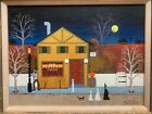 Jane Wooster Scott oil on canvas painting one too many folk art Halloween witch