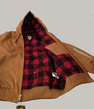 Carhartt Men Camo-Lined Duck Active Jacket (101074) Brown/Dark Crimson Large New