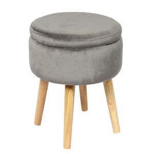 Round Storage Ottoman, Soft Padded Velvet Footrest Stool, with Wooden Legs & Tra