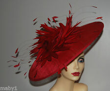 LARGE SCARLET SAUCER HATINATOR STYLE NAME FINESSE  NO RETURN ---- MADE TO ORDER