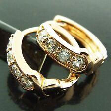 HOOP HUGGIE EARRINGS REAL 18K ROSE G/F GOLD DIAMOND SIMULATED ANTIQUE DESIGN