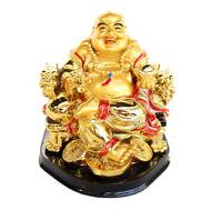 Golden Money Buddha Statue on Dragon Chair