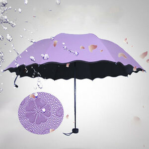 portable Anti UV Sun Rain Umbrella Water Blossom Windproof 3 Folding Gift  #B99