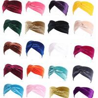 Ladies Elastic Twist Turban Head Wrap Hat Wide Velvet Headband Hair Band Hoop