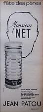 PUBLICITÉ 1966 JEAN PATOU MONSIEUR NET LIGNE POUR HOMME - ADVERTISING
