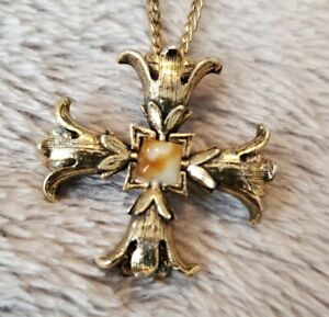 Vintage Miracle Necklace Chain pendant Scottish Celtic Cross Signed