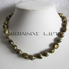 """18"""" 11-12mm Olive Baroque Freshwater Mother of Pearl Necklace Jewelry Strand UE"""