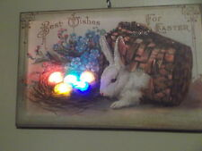 Battery Operated Lighted Canvas Print Easter Bunny Best Wishes for Easter