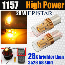 2x 1157 20W Bright Epistar LED Amber Yellow Front Turn Signal Parking Light Bulb