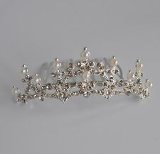 Dainty silver ivory pearl & clear crystal/diamante bridal tiara comb/hair comb