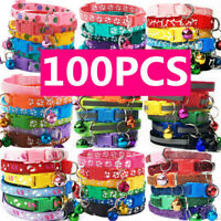 Lot of 100 Wholesale Small Dog Collar Cat Puppy Nylon Necklace W/Bell Adjustable