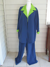 Roamans Blue & Green Two Piece Jacket & Pants Set Outfit Size 24W Never Worn