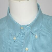 BROOKS BROTHERS Slim Fit Non Iron Teal Mini Check Cotton Dress Shirt Sz 16 - 34