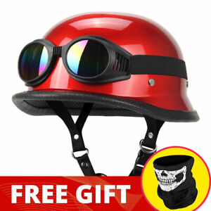 DOT Motorcycle German Leather A+ Half Helmet Motocross For Chopper Cruiser Biker