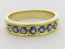 R077 Genuine 9K SOLID Gold NATURAL Sapphire Anniversary Wedding Band Ring size