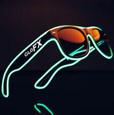 Green EL Wire Light Up Sunglasses LED Rave Blinking Flashing EDM 3 Mode Inverter