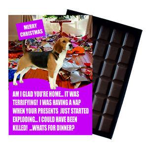 Beagle Christmas Card Funny Dog Xmas Gift 100g Oncocoa Novelty Chocolate Bar UK