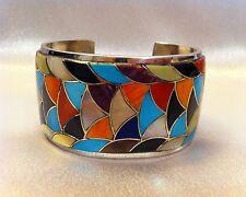 Elegant Zuni Mosaic Turquoise Bracelet, Natewa, Sterling Silver, Native American