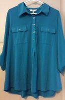 NEW Women XXL 2X Shirt Top Teal Green Blouse $59 Career Henley Roll Up Sleeves *