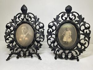 Lot of 2 Antique Cast Iron Victorian Picture Frame