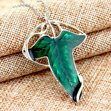 2018Vintage Lord of The Rings Green Leaf Elven Pin Brooch Pendant Chain Necklace