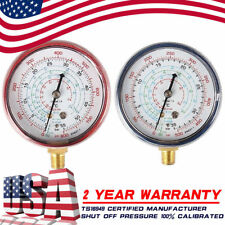 2Pcs R410A R134A R22 Air Conditioner Refrigerant Low&High Pressure Gauge PSI KPA