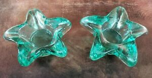 2 Heavy Thick Green Glass Star Shaped Candle Holder Tea Light Paperweight EUC