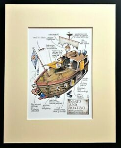 Boats and Boating Simon Drew Mounted Print Matted Signed Entertaining Art