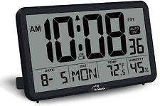 WallarGe Digital Wall Clock, Autoset, Desk Clock with Temperature, Humidity