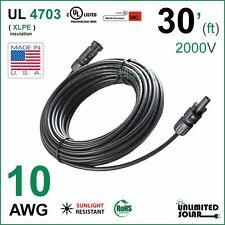 Solar Panel Cable 30 FT - 10 AWG MC4 PV Wire, Copper, THHN - UL 4703 - 2000V