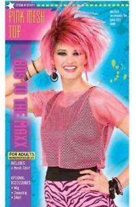 80's 90's NEON PINK MESH TOP 8-14 FUNKY GROOVY RAVE FANCY DRESS