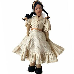 "Vintage Hispanic 9"" Doll Composition Head Braided Hair Everyday Dress Cloth Body"