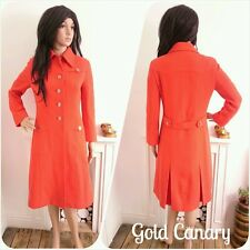 Vintage 60s Red French Military Wool Silk Lined Jacket Coat Mod 8 10 36