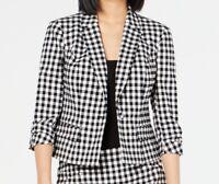 INC Womens Blazer Jacket Black White Size Medium M Gingham One-Button $99 382