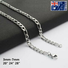 Wholesale 316L Stainless Steel Silver Curb Figaro Chain Necklace Mens & Womens