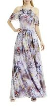 Nicole Miller NY Printed Ruffle Chiffon Maxi Gown Multifloral Dress Size 2