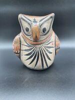 Vintage Mexican Tonala Pottery Owl Bird Folk Art Hand-Painted Sculpture Ceramic