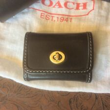"Vintage COACH Black Leather ""Post-It Note"" Holder. Brass Turnlock. Notepad Incld"