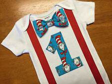 Cat in the Hat First Birthday Outfit, Boys Dr. Suess Cake Smash Bodysuit 18M