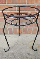 Vintage Wrought Iron Plant Stand Black Scroll Legs 11X15