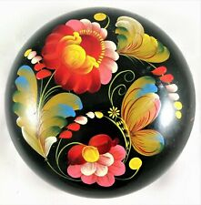 Russian Hohloma Wooden Box Khokhloma Hand Painted Lacquered Vintage Floral Black
