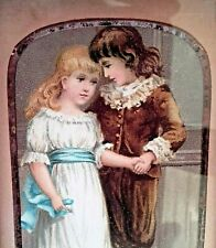 Antique Victorian Hand Coloured Framed Print Boy & Girl Holding Hands - 19th C