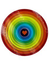 Chopping Board Rainbow Heart Circular Glass Red 31x31cm
