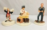 Lot of 3 Vintage Sebastian Miniatures ~ Gandy Dancer, Knickerbocker, Sailing Day