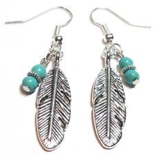 FEATHER Turquoise Gemstone_Handcrafted Charm Earrings_Leaf Bird Native Eagle_16H